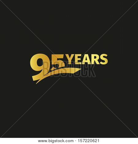 Isolated abstract golden 95th anniversary logo on black background. 95 number logotype. Ninty-five years jubilee celebration icon. Birthday emblem. Vector illustration