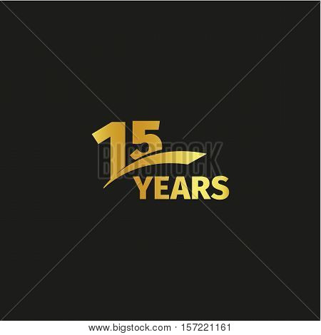 Isolated abstract golden 15th anniversary logo on black background. 15 number logotype. Fifteen years jubilee celebration icon. Fifteenth birthday emblem. Vector illustration