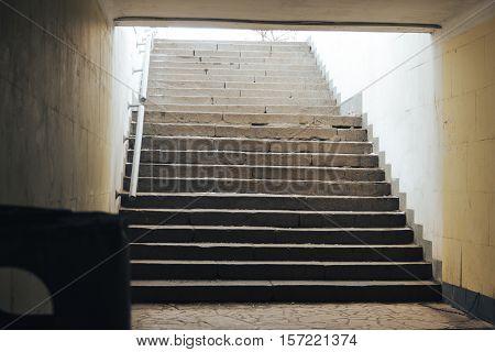 steps from tunnel underground pedestrian crossing. Nobody