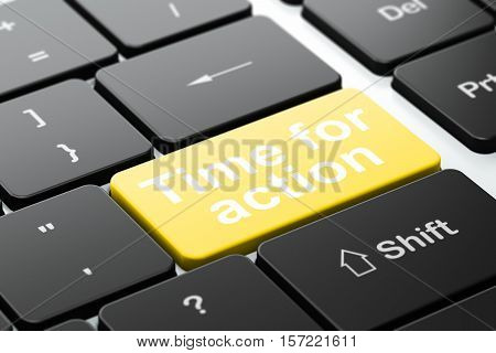 Time concept: computer keyboard with word Time For Action, selected focus on enter button background, 3D rendering