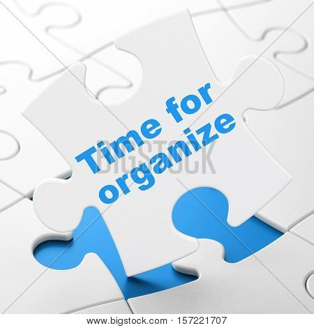 Time concept: Time For Organize on White puzzle pieces background, 3D rendering