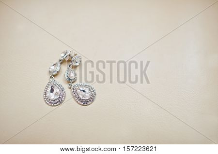 Bride Wedding Silver Brilliant Earrings On Milk Leather Background