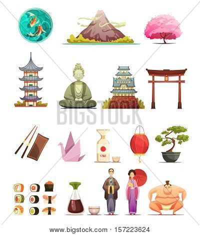 Japanese culture traditions cuisine retro cartoon icons collection with cherry blossom bonsai and sumo wrestler isolated vector illustrations