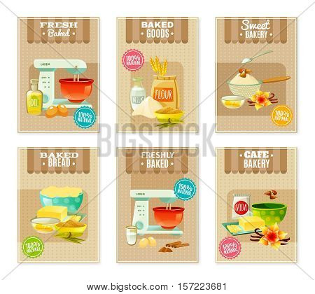 Flat baking banners and cards for cafe or bakery with products and tools for cooking isolated vector illustration