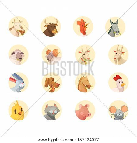 Farm animals cartoon heads round icons collection with horse pig cow bull and rooster isolated vector illustration