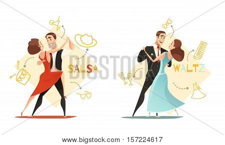 Dancing waltz and salsa couples 2 retro cartoon templates with traditional outlined accessories icons isolated vector illustration
