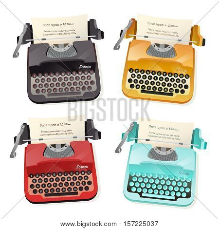 Flat set of colorful vintage typewriters isolated on white background vector illustration