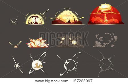 Bomb explosion freeze frame still images collection 3 sets with black background retro cartoon isolated vector illustration