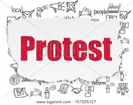 Political concept: Painted red text Protest on Torn Paper background with  Hand Drawn Politics Icons