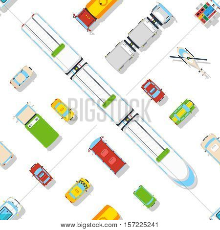 Transport seamless pattern of different types of vehicles predominantly cars and train top view flat vector illustration
