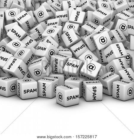 Internet Marketing Concept. E-mail spamming 3D illustration. A lot of cubes with spam word and email symbol.