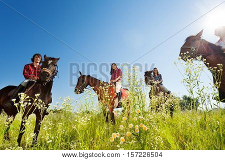 Portrait of happy equestrians riding bay horses in the flowery meadow at sunny day