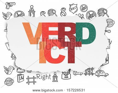 Law concept: Painted multicolor text Verdict on Torn Paper background with  Hand Drawn Law Icons