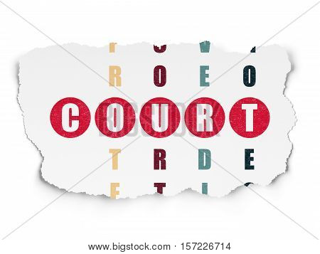 Law concept: Painted red word Court in solving Crossword Puzzle on Torn Paper background