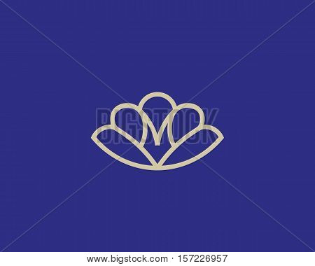 Abstract shell conch linear logo design. Letter m marine seafood vector logotype