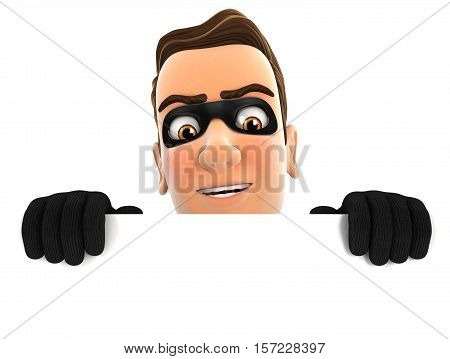 3d thief hiding behind white wall illustration with isolated white background