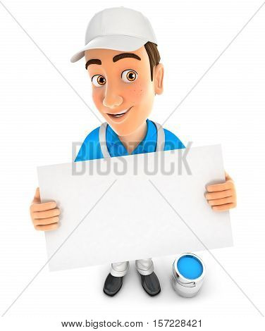3d painter holding a billboard illustration with isolated white background