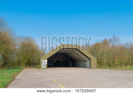 abandoned aircraft bunker on the former military airbase Twente in the netherlands