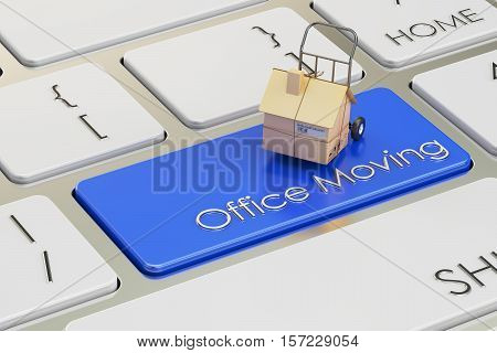 Office Move concept on red keyboard button 3D rendering