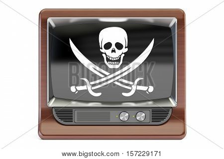 Piracy concept 3D rendering. TV set with pirate flag isolated on white background