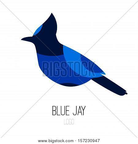 Blue Jay vector icon. Logo. Flat design.