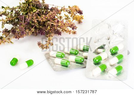 Medical Herbal capsules are packaged in blisters. Studio Photo
