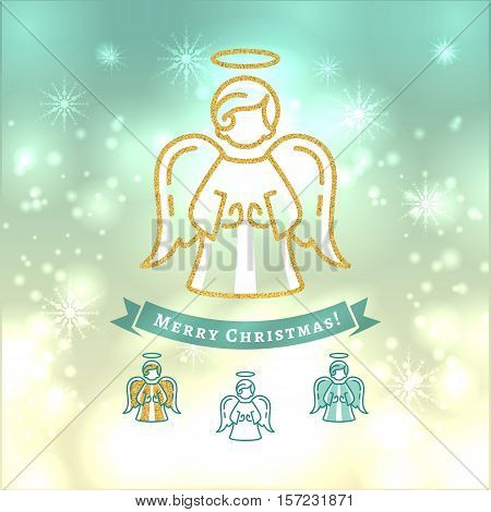 Christmas Angel, Xmas vintage elegant background, Religious decoration. Angel icon in thin line art style. Turquoise yellow light background, gold elements, Vector isolated elements