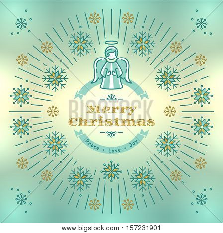 Merry Christmas greeting card, Christmas Angel, Xmas vintage elegant background, Religious decoration. Thin line art style, Turquoise yellow light background, gold elements, Vector isolated elements
