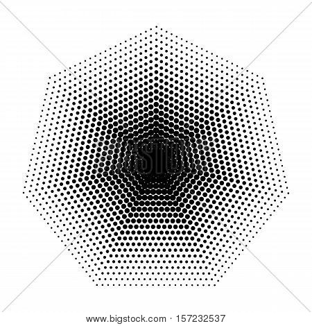 Vector Heptagon halftone geometric shapes, Dot design abstract background. The geometric shape with seven angles. Dotwork Illustration