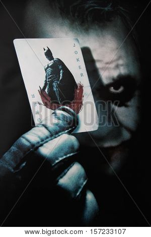 Monchique, Algarve, Portugal. Circa November 17th 2016. Studio image of an advertising poster for the movie The Dark Knight. Staring the late Heath Ledger. The Dark Knight is a 2008 superhero thriller film