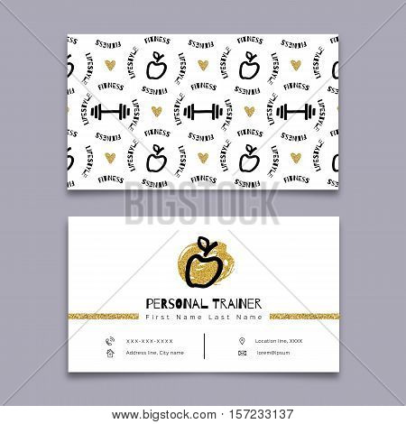 Personal trainer, Fitness instructor, Sports business card. Sketch black marker hand-drawn symbols and gold elements. Creative concept of fitness and a healthy lifestyle. Vector Modern graphic design