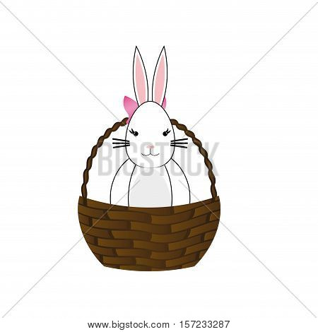 Happy easter bunny cartoon icon vector illustration graphic design