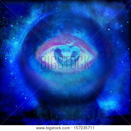 Crystal Ball with eye on abstract background , raster