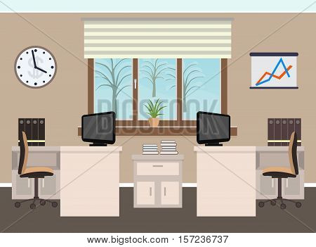 Office room interior including two work spaces with furniture winter landscape outside window. Flat style vector illustration.