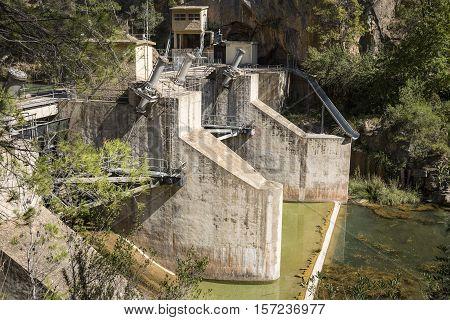 Hydroelectric Dam at Mijares river in Cirat (Montanejos), Castellón, Spain