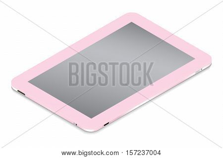 Realistic pink tablet in isometry isolated on a light background. Vector illustration.