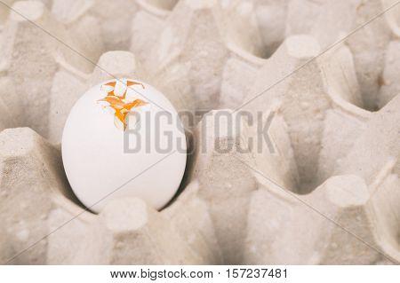 Broken white egg on a carton tray