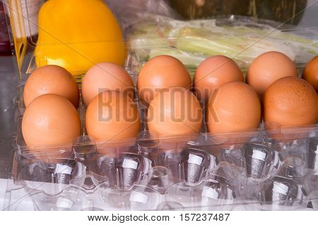 Eggs On A Tray In The Fridge