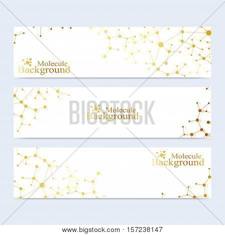 Modern set of vector banners. Atom. DNA. Molecule and communication background for medicine, science, technology, chemistry. Medical scientific representation backdrop