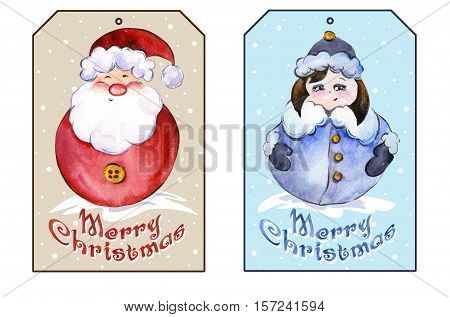 Rectangle christmas tags with smiling Santa Claus and funny Snow Maiden. Watercolor painting. Hand painted.