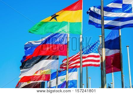Blowing Flags Of The World
