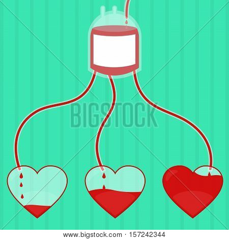Blood flowing through a pouch of blood and reaching the heart. Blood donation. Hearts fill with blood.