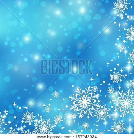 Christmas and New Year blue blurry vector background with snowflakes and stars