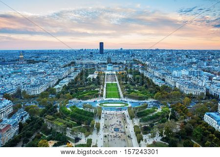 View From Eiffel Tower Over Champs De Mars