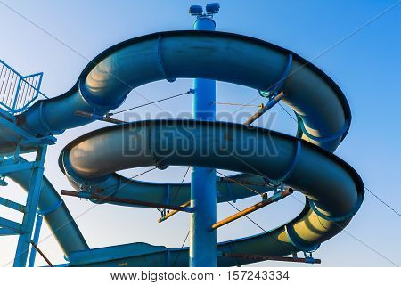 detail of a waterslide of a swimming bath