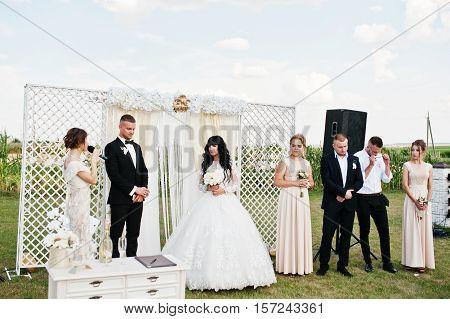 Amazing Wedding Ceremony. Groom Waiting His Bride.