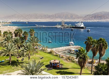 View from Eilat south district towards Aqaba in Jordan Eilat. Israel