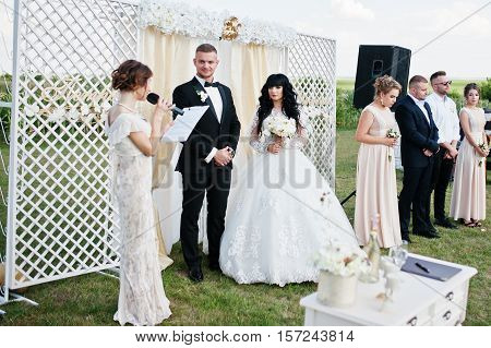 Amazing Wedding Ceremony With Master Of Ceremonies, Wedding Couple And Best Mans With Bridesmaids.
