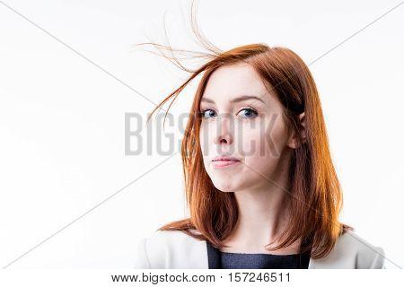 Elegant Woman Blowing Away Her Hair