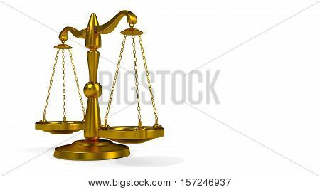 Golden scales of justice Themis on a white background 3D